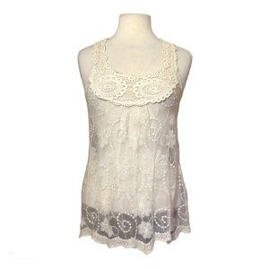 Wet Seal Sheer Lacy Tank Top Size M